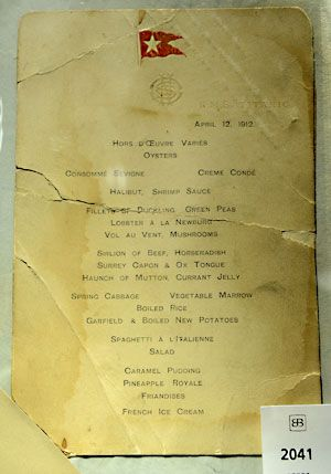 A first-class dinner menu from Titanic, dated April 12, 1912. (Credit: Emmanuel Dunand/AFP/Getty Images)