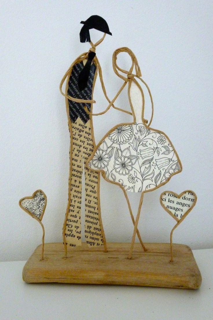 Les amoureux de la Saint-Valentin - Figurines en ficelle et papier
