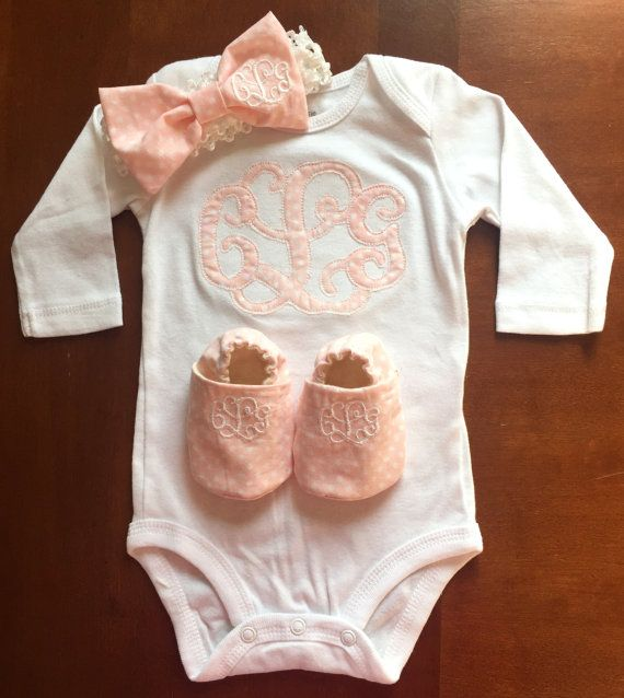 Monogrammed Baby Onesie/Outfit For handmade dolls that have interchangeable eyes and mouths, visit jessicadolls.com!