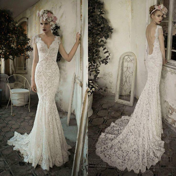 Twvc whiteivory open back lace wedding dress wedding for Vintage lace wedding dress open back