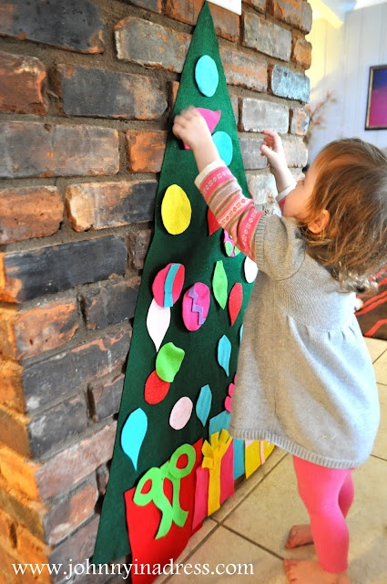DIY Play Felt Tree & Ornaments that will keep your little tyke busy and safe while you decorate the real one