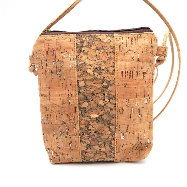 Cork Cross Body Vertical Wood Grain Messenger Bag