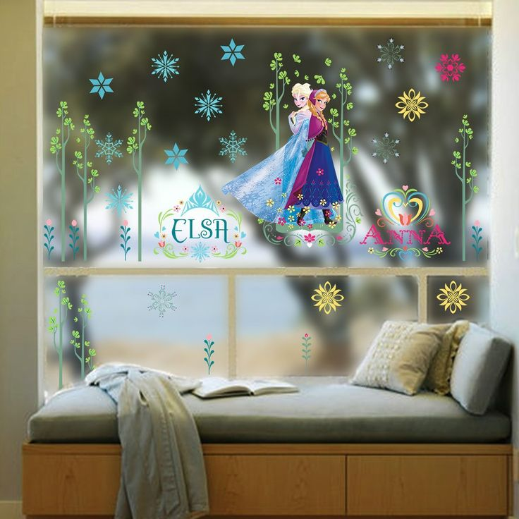 Frozen Cartoon Elsa Anna With Trees Wall Decals Children Room And  Kindergarten Background Decoration