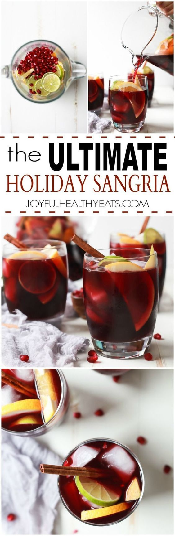 The Ultimate Holiday Sangria Recipe filled with citrus, pomegranate, crisp pear, and cinnamon for one irresistible sip! Find out my secret method to making the BEST sangria!   joyfulhealthyeats.com