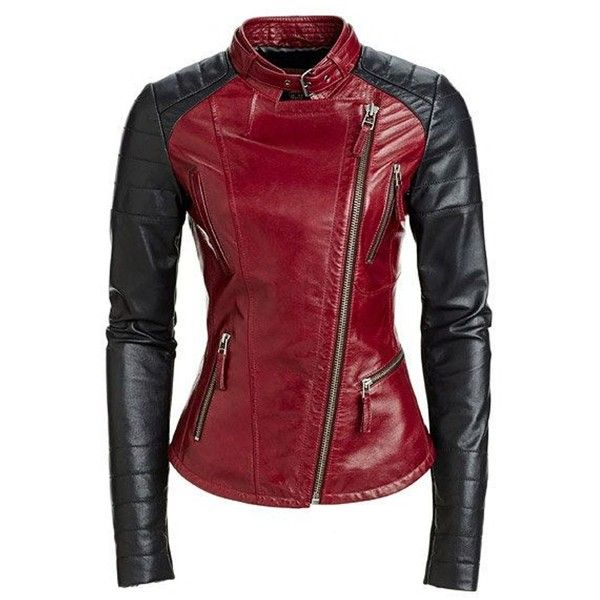 World Of Leather Moto Genuine Lambskin Leather Jacket Stylish Biker... ($130) ❤ liked on Polyvore featuring outerwear, jackets, red biker jacket, lambskin jacket, biker style jacket, real leather jackets and genuine leather jackets