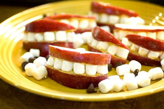 """PB and marshmallow """"mouths"""" maybe for a dental hygiene or health unit (not sure if that's classified as """"social studies"""" but thought it was a cute idea)"""