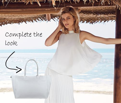 White-on-white is a huge trend this summer. Complete your look with this embossed leather shopper: http://goo.gl/I6Hud8