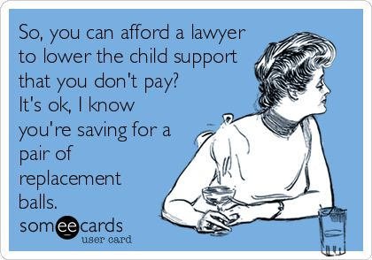 So, you can afford a lawyer to lower the child support that you don't pay? It's ok, I know you're saving for a pair of replacement balls. | Family Ecard | someecards.com