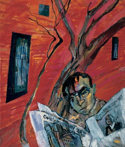 Maxim Kantor  - Self portrait with newspaper (2004)