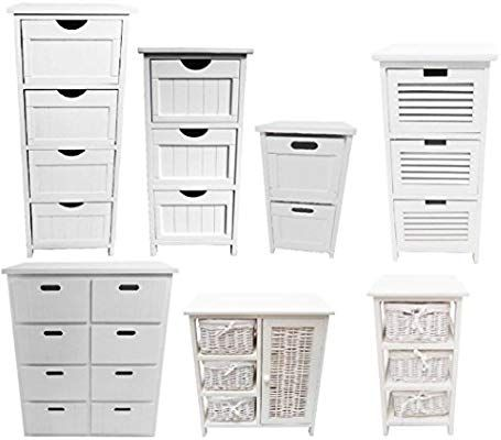 Best Assembled Slim Narrow White 4 Chest Of Drawer Bedside 400 x 300