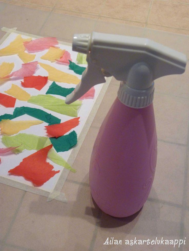 Tämän tekniikan löysin surffailemalla netissä Painting with Tissue Paper…