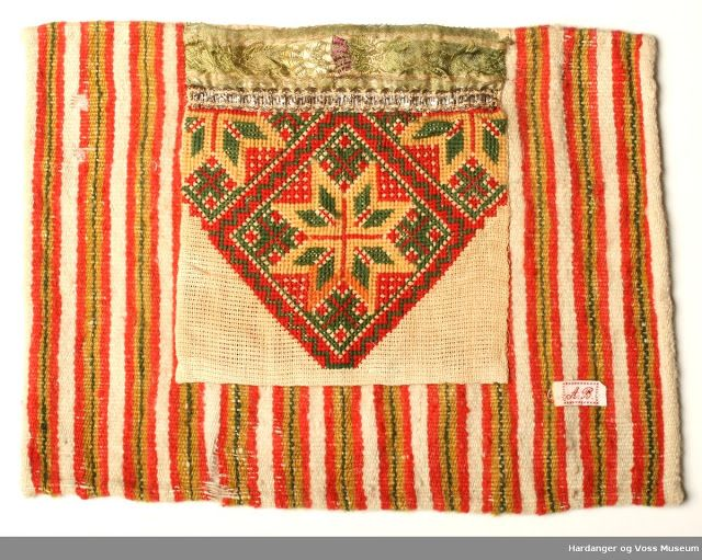 cross stitched Bringeduk, Bodice insets from Hordaland, Norway