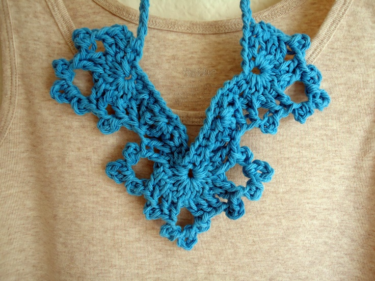 Crochet Angel Wings Necklace - Teal Blue. crafts ...