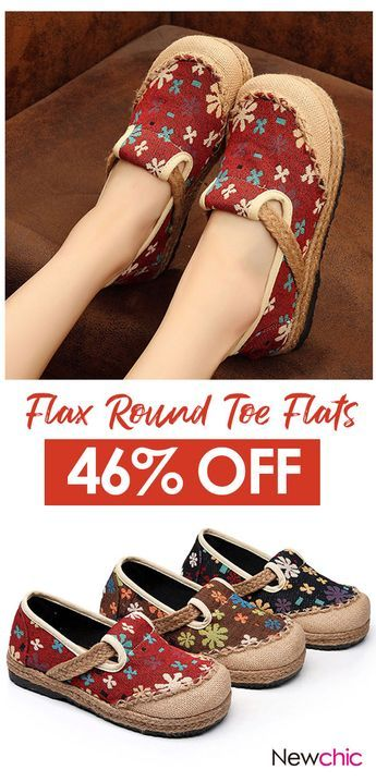 3ae52a45e27  46% off Breathable Flax Flower Slip On Round Toe Folkways Flat  Shoes. shoes  womenshoes  breathable