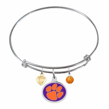Generous Gems - Clemson Tigers Sterling Silver Bangle Bracelet With Solid Enamel Charms, $99.00 (http://generous-gems.com/clemson-tigers-sterling-silver-bangle-bracelet-with-solid-enamel-charms/) #clemson #ncaa