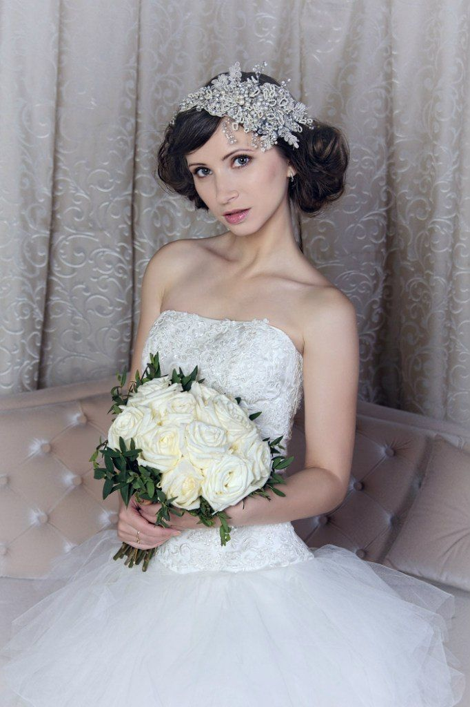 Fine Bridal Hair Piece - Bridal Hair Flower, Bridal Fascinator, Birdcage veil, Bridal Hair Accessories - Lace and flower hair piece -white. Can be ordered in ivory colour.