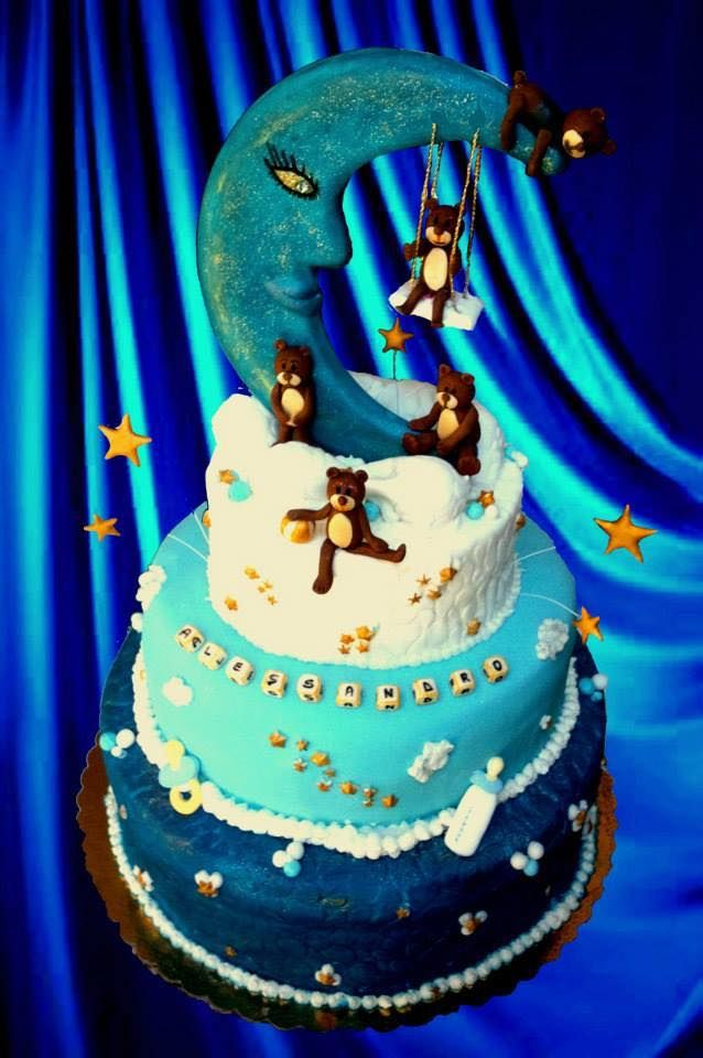 Blue baby coming cake Art
