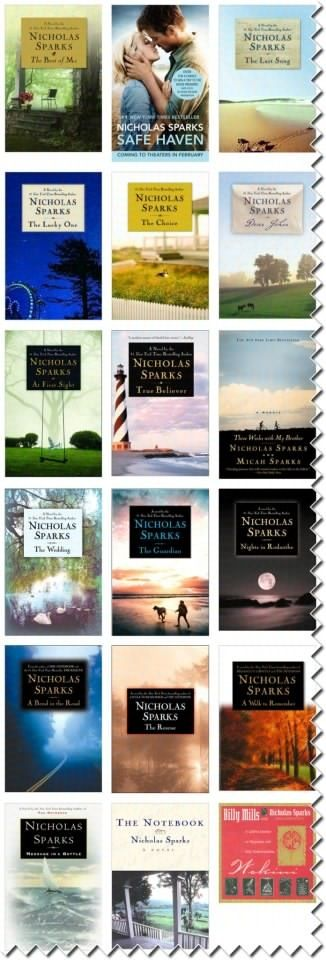 Nicholas Sparks Books....<3    ALL his books!  To date anyway, new one coming out later this year!  :)