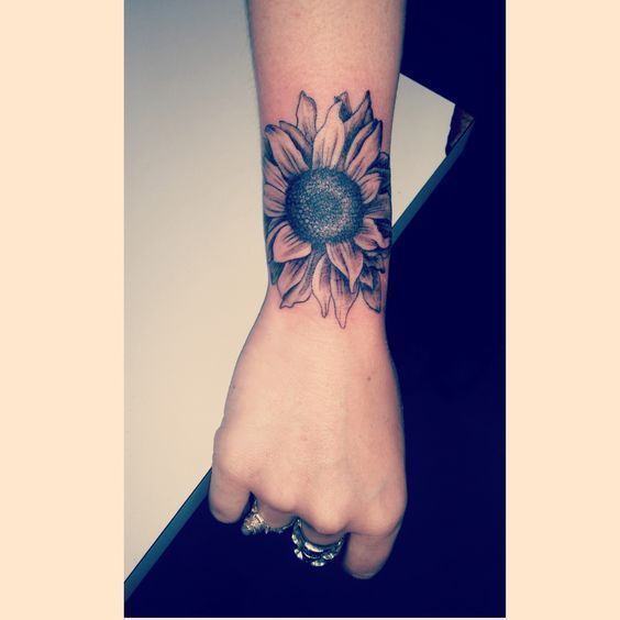 Colorful Sunflower Wrist Tattoos For Women