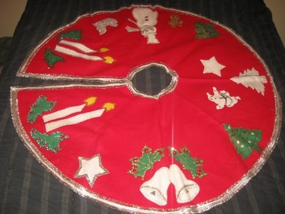 Vintage Christmas Tree Skirt ~ Red Felt w/ Metallic Silver Trim Decorated w/ Various Christmas Designs in Felt with Beads and Sequins. Circa, 1950's.