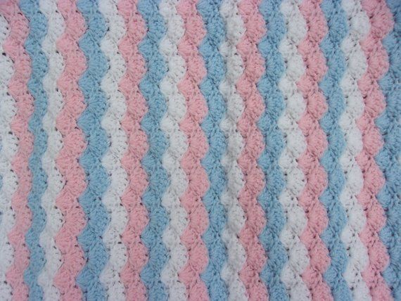 Pastal afghan pink blue shell afghan throw