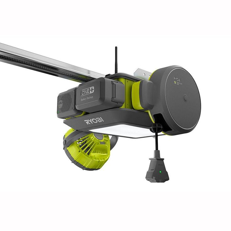 Ryobi Ultra-Quiet Garage Door Opener can add on a retractable power cord, a fan, Bluetooth speaker, a laser parking assistant, or a backup battery - $250