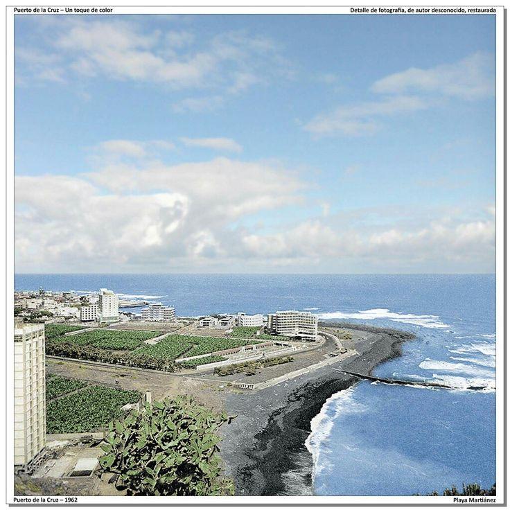 Puerto de la Cruz – 1962 Playa Martiánez [Detalle de fotografía en color, restaurada] Los primeros hoteles ya aparecen en los llanos de Martiánez: Las Vegas, Valle Mar, Bélgica, Tenerife Playa y Oro Negro.