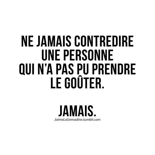 Ne jamais contredire une personne qui n'a pas pu prendre le goûter. JAMAIS - #JaimeLaGrenadine #citation #punchline #gouter
