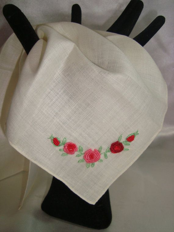 Ladies Handkerchief Embroidered Hankie by couturecafe on Etsy