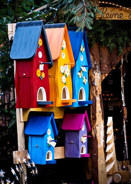 "Brightly Colored Group Of Birdhouses!!! Bebe""!!! Love these attention grabbing birdhouses!!! They are very cheerful!!!"