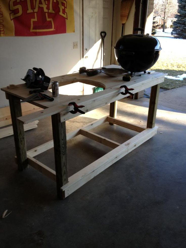 Custom Table For Kettle Diy In 2019 Grill Table Bbq