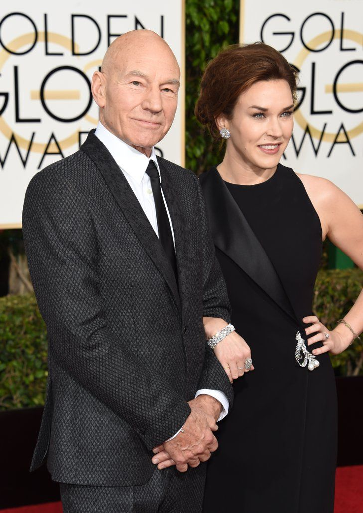 Pin for Later: These Celebrity Couples Amped Up the PDA at the Golden Globe Awards Patrick Stewart and Sunny Ozell