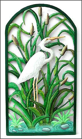 Painted Metal Tropical Wall Decor - White Egret Wall Art ...