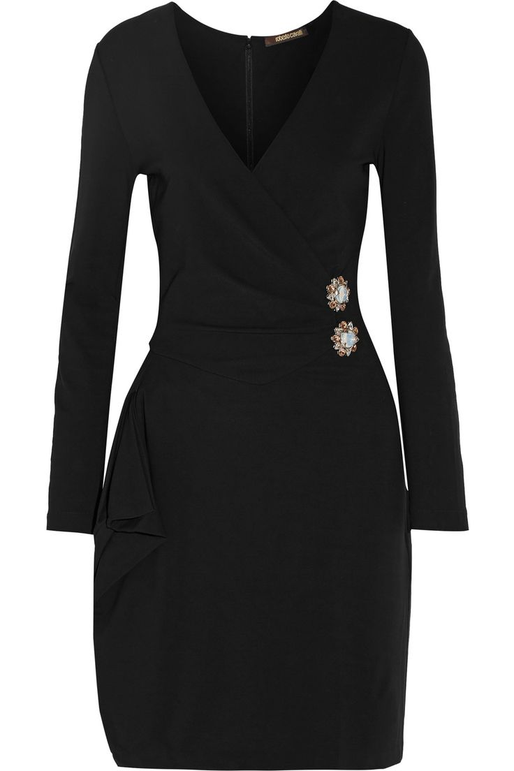 Shop on-sale Roberto Cavalli Embellished wrap-effect stretch-jersey mini dress. Browse other discount designer Dresses & more on The Most Fashionable Fashion Outlet, THE OUTNET.COM