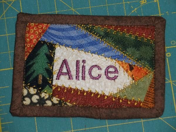 Quilted Name Tag or could be used as a mug rug...