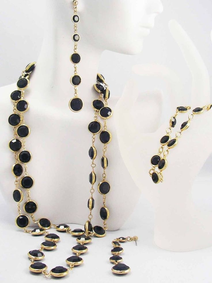 ~Swarovski Austrian BLACK Crystal Bezel Set Golden Necklace Earrings Bracelet ~  #SWAROVSKI