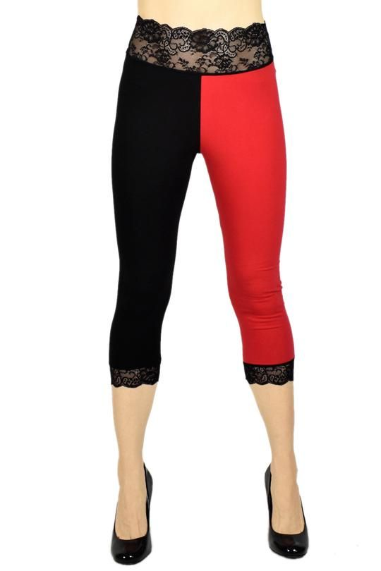 02883d1a796 Cotton Black and Red Harley Quinn Capris made by Deranged Designs in  regular and plus size XS S M L XL 2XL 3XL cosplay costume