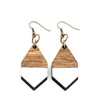 DIAMANTE earrings in white