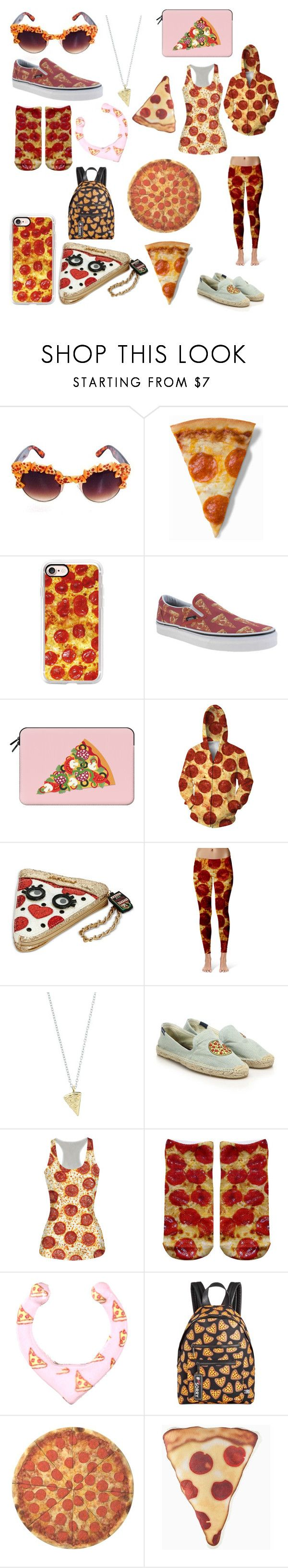 """""""Too much pizza"""" by xxshemurrqueenxx ❤ liked on Polyvore featuring Gasoline Glamour, Casetify, Vans, Betsey Johnson, Rock 'N Rose, Soludos, Circus by Sam Edelman and Round Towel Co."""