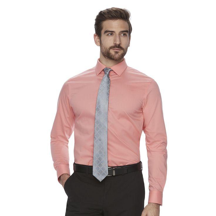 Men's Marc Anthony Slim-Fit Non-Iron Stretch Dress Shirt, Size: 15.5-34/35, Lt Orange