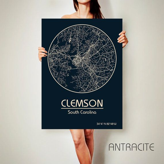 CLEMSON South Carolina CANVAS Map Clemson South Carolina Poster City Map Clemson South Carolina Art Print Clemson South Carolina poster Clemson South Carolina map art Poster Clemson South Carolina map ♛COLORS, QUALITY AND DETAILS: ★Printing on NATURAL COTTON CANVAS! ★The DEEP RICH COLOR! ★CANVAS does NOT WRINKLED like paper! ★Best quality. Fabulous look! ♛See all city maps of this state here: https://www.etsy.com/shop/ArchTravel?ref=hdr_shop_menu&search_query=south+carolina ★More M...