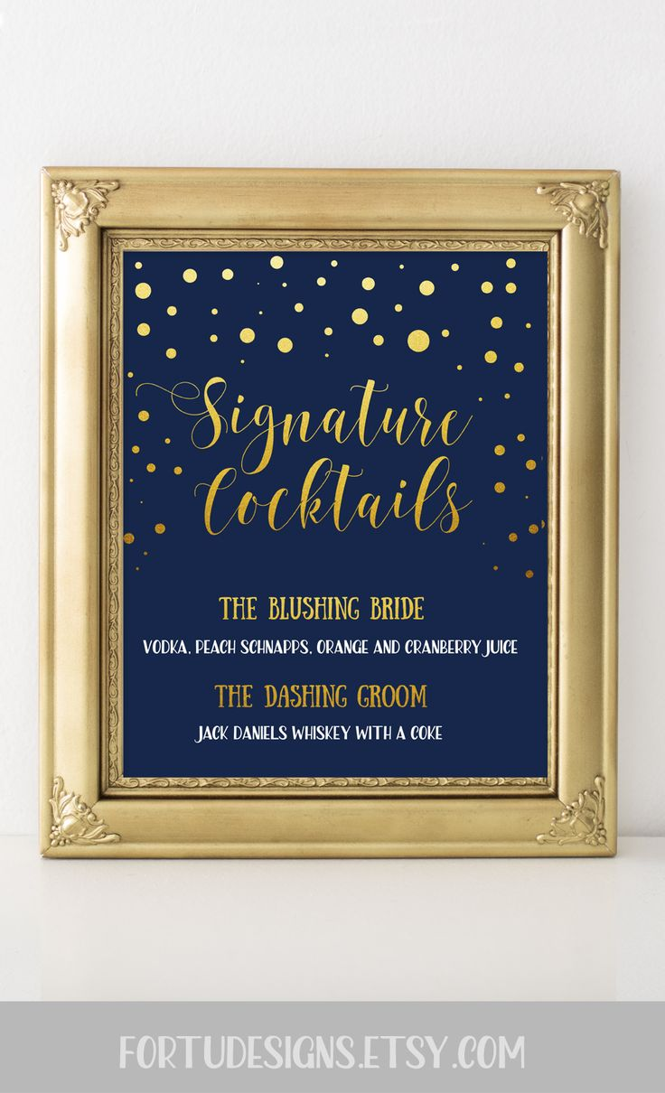 Signature drink sign - Navy and gold wedding decor - Custom signature cocktail sign (FortuDesigns)  #navywedding #weddingsigns