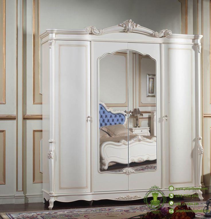 Lemari Pakaian Ukiran Warna Putih Klasik www.jatipribumi.com Tampilkan sisi mewah dan berkelas diruangan anda dengan furniture lemari pakaian model terbaru desain klasik mewah yang mempunyai ukiran khas mebel jepara.