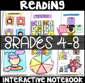 Reading Interactive Notebook: 24 detailed lesson plans, 48 fun and highly engaging foldables (SnapChat, Instagram, Music) posters, supply list, and so much more! You'll never go back to your old INBs after this!