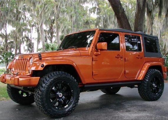 James loves these 4-door orange Jeeps!