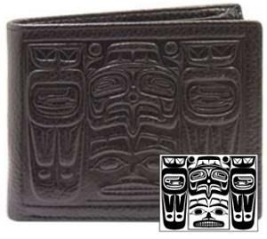 Eagle & Bear design on black leather wallet