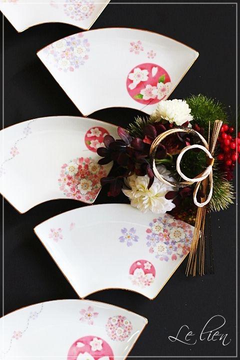 ポーセラーツ 扇皿 | 『Le lien ~ル リアン~』 名古屋ポーセラーツ・リボン・一般社団法人Ribbon couture Riche本部