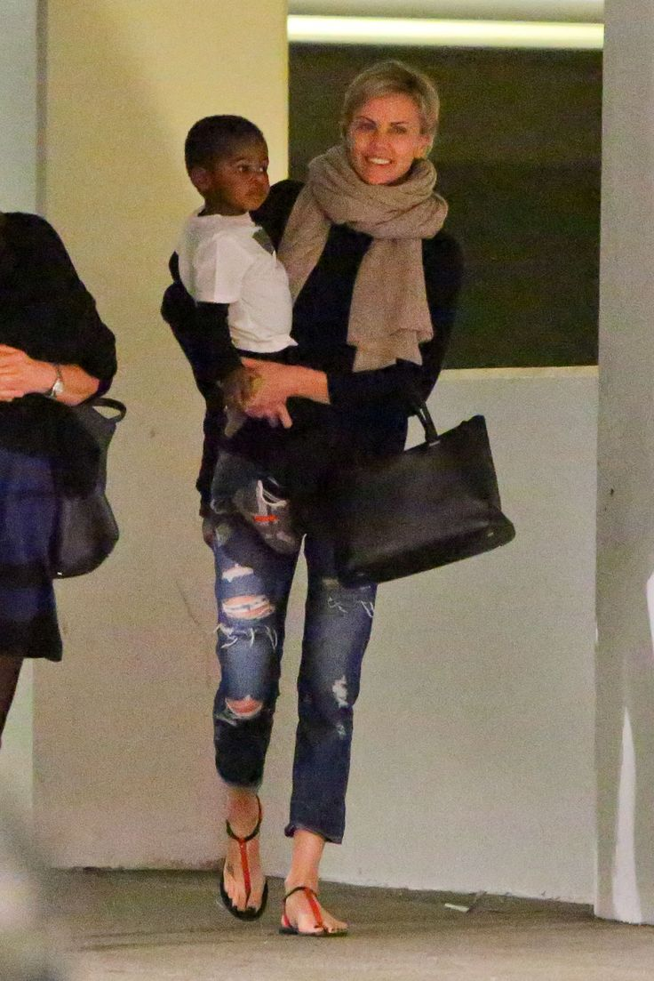 Charlize Theron and her son out in LA wearing the Cashmere ...