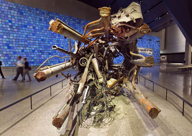 Inside the 9/11 Museum - Transmission tower The twisted remains of a portion of the television transmission tower from the World Trade Center are displayed.