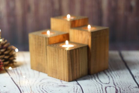 Reclamada de madera soporte Portavelas rústico por GFTWoodcraft